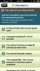 The app also provides an easy-to-use checklist of requirements