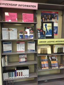 The L.A. Public Library supports citizenship by providing materials like these at its locations and by partnering with campaign partners to provide citizenship preparation classes, made possible in part by the USCIS Integration Grant Program