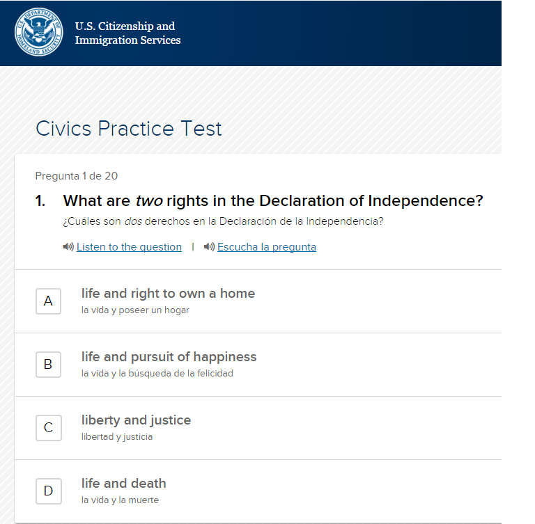 image about Printable United States Citizenship Test referred to as Refreshing Us citizens Marketing campaign USCIS Launches Spanish-language